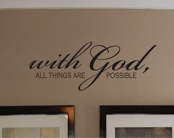 Scripture With God Wall Decal   Scripture Wall Decal   Bible Verse Wall  Decal   Christian