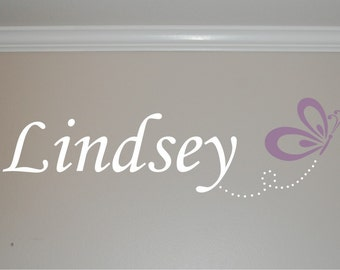 Name with Butterfly - Girl Wall Decal - Girl Bedroom - Nursery wall decal -  Vinyl Wall Decal - Girl Name decal - Vinyl Wall Decal