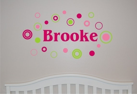 Personalized Girls Name with Circles and Dots Wall Decal - Girls Wall Decal - Circles Wall Decal- Personalized wall decal - nursery decal