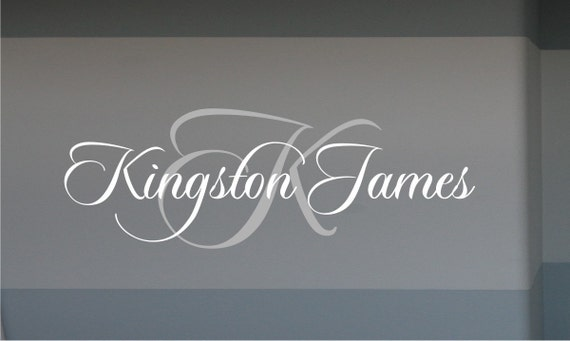 Custom Name with Initial Decal - Boys Name with Initial Wall Decal - Custom Name Decal - Nursery Decal - Vinyl Wall Decal