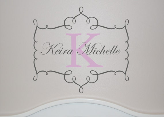 Monogram Name and Initial Wall Decal - Girls Wall Decal - Name Wall Decal - Nursery Wall Decal- Personalized Wall Decal - Vinyl Decal