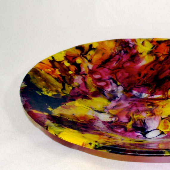Boiled Fused Glass Yellow Large Bowl