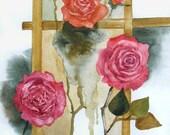 Original (not print) art watercolor painting - Roses Ikebana