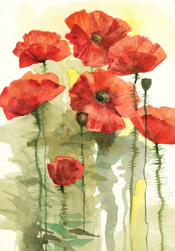 Bloomed poppies original watercolor painting - How to paint poppy flowers ...
