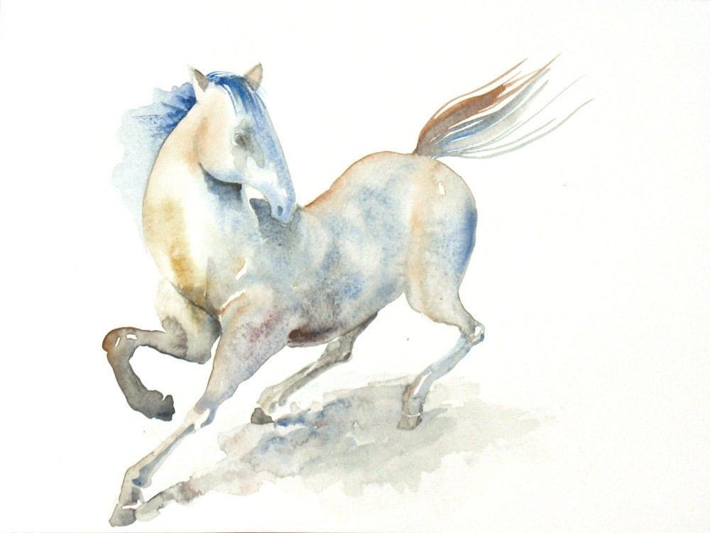 White Horse Watercolor Painting 9x12 Fine Art Original