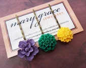 Flower Hair Pin Set, Purple, Green and Yellow