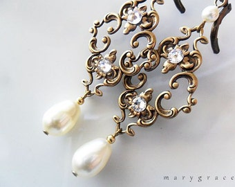 Antique Gold Nouveau Style Filigree and Cream Pearls Bridal Earrings - Swarovski