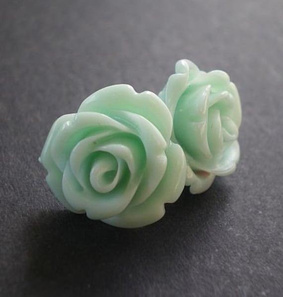 rose bud stud earrings sea foam. Black Bedroom Furniture Sets. Home Design Ideas