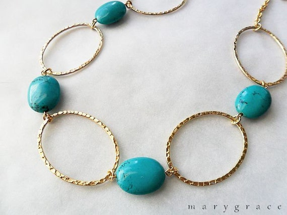 Turquoise Necklace, Large Hammered Oval, Gold