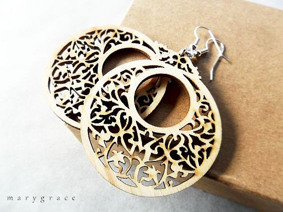 Wooden Go Go Earrings with Vintage Style Pattern, Natural