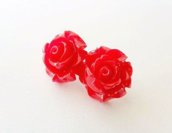 Lipstick Red  Rose Post Earrings, Flower earrings