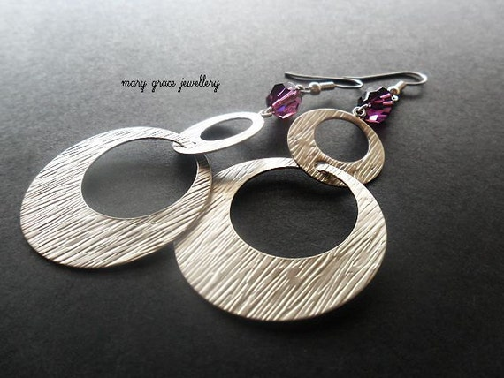 Modern Silver Hoop Earrings, Purple Crystal, Swarovski