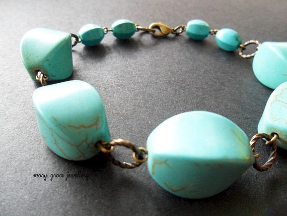 Modern Turquoise Bracelet, Chunky