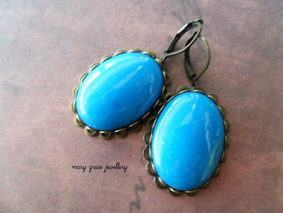 Turquoise Blue Marble Stone Earrings, Brass, Oval
