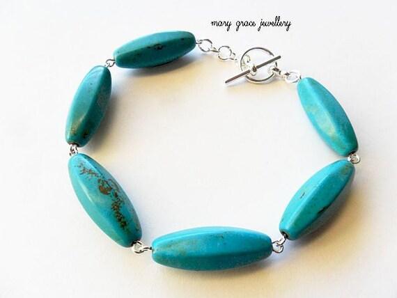 Turquoise Bracelet, Silver, Modern Simple