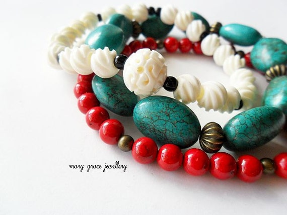 Stretch Bracelet Set, Bohemian, Red, Teal Green Turquoise, White Carved Bone