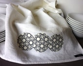 Circle Work Tea-Towel - cream and grey