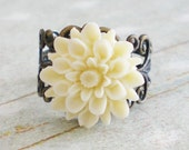 SALE - Ivory Chrysanthemum Ring