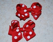 Pair of Minnie Mouse Red and White Polka Dot Bows