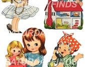 Sweet Little Girl Cut Outs  No. 1  (of 2) Vintage Greeting Cards - Digital Collage Sheet Instant Download