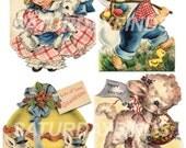 Vintage Greeting Card Easter No. 6 Vintage Easter Greeting Cards - Digital Collage Sheet INSTANT DOWNLOAD