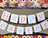 Happy Easter Banner Vintage Inspired HAPPY EASTER Banner Garland