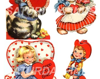Vintage Valentines Vintage Greeting Cards  No 11 (of 23) Digital Collage Sheet INSTANT DOWNLOAD