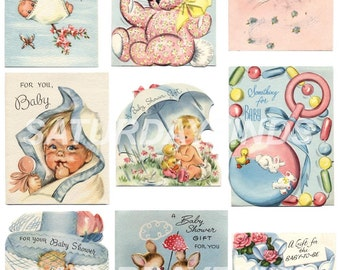 Baby Shower Small Cards No. 1 (of 5) Vintage Greeting Cards - Digital Collage Sheet Instant Download