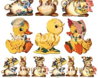 Vintage Greeting Card Easter No. 12 Vintage Easter Greeting Cards - Digital Collage Sheet Instant Download