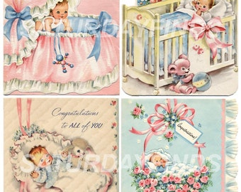 New Baby No. 12 (of 12) Vintage Congratulations Baby Greeting Cards - Instant Download