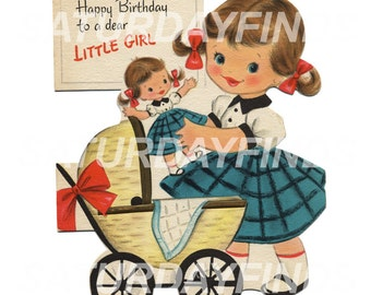 Happy Birthday Little Girl Single Cut Out  No.9  (of 10) Vintage Greeting Cards - Digital Image Instant Download