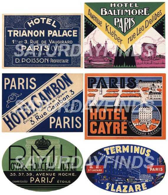 Vintage-Inspired Luggage Travel Labels No. 1 (of 3) Digital Collage Sheets E-mailed directly to you. No Shipping... Just save and print.