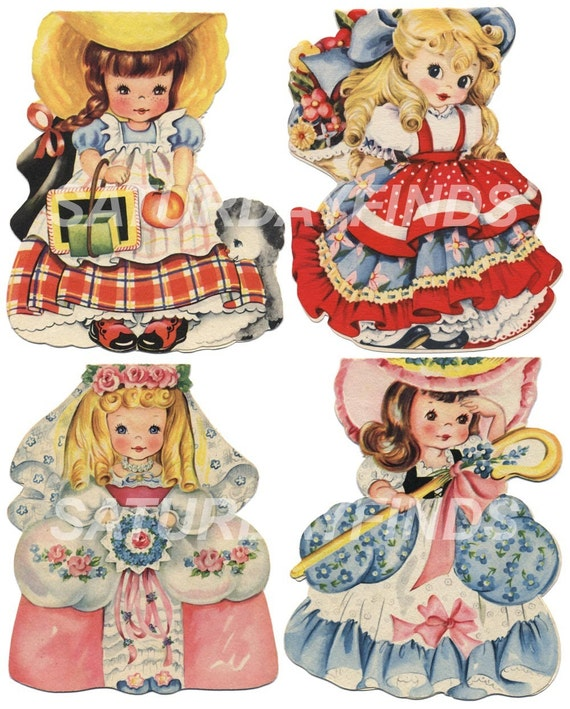 Vintage Greeting Card Birthday Girl No. 5 (of 9) Vintage Greeting Cards - Digital Collage Sheet Instant Download