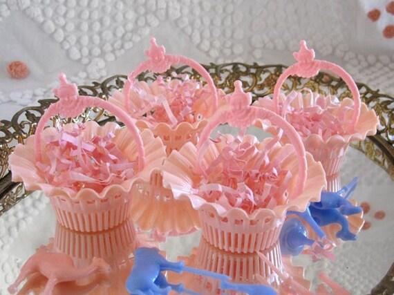 4  Darling Vintage Sweet Pink Party Favor Filigree Baskets