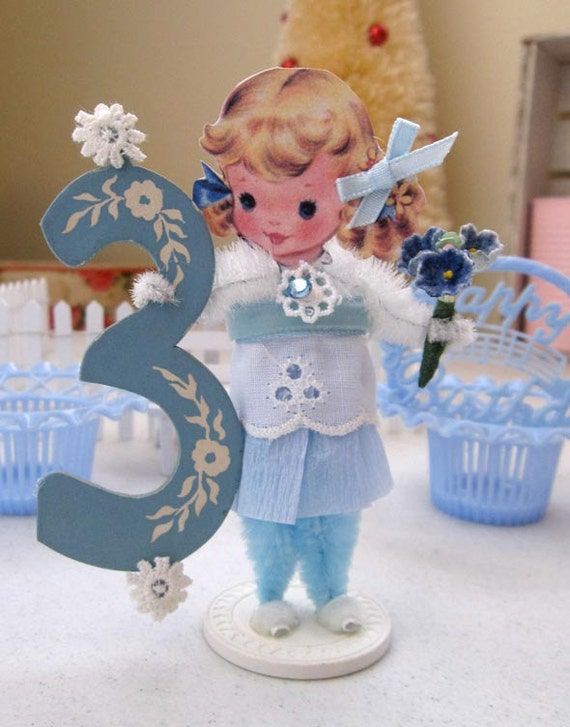 Vintage Inspired SuGaR SwEeT Happy Birthday 3 Year Old Paper Posy Doll
