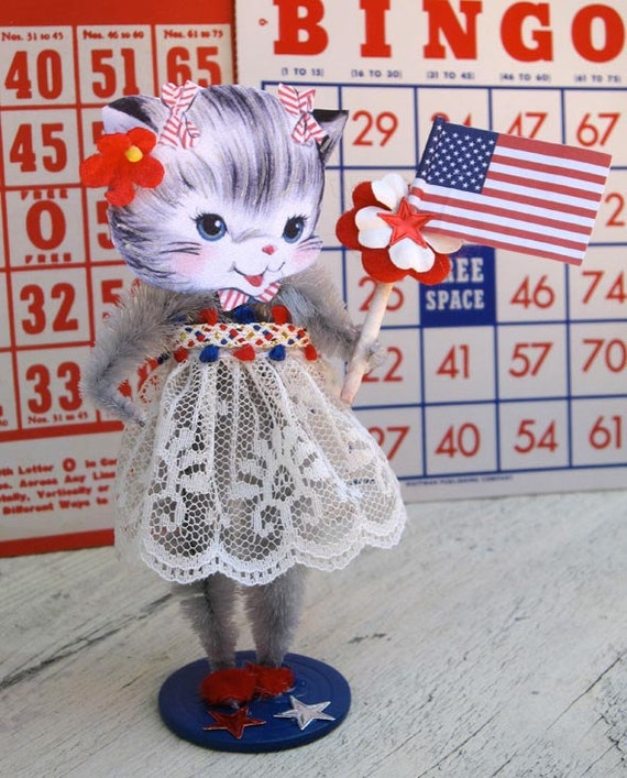 Vintage Inspired SuGaR SwEeT July 4th Miss Independence Kitty Paper Posy Doll