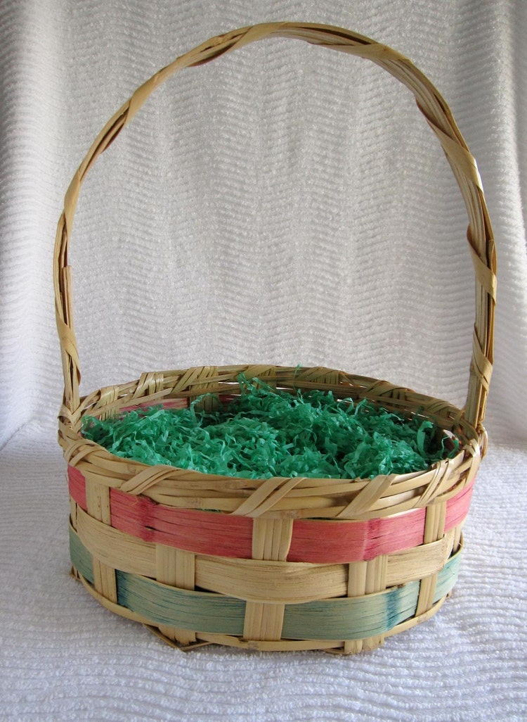 Large Vintage Mexico Wicker Easter Basket 1950 By