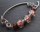 Bracelet Silver Bangle with Red Gray and White Lampwork in Silver and Nickel