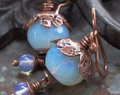 Earrings Milky Blue Blossom Copper Metalwork Fuchsia Flower Opalite