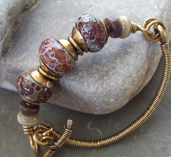 Bracelet Brass Bangle Lampwork Speckled Stone -- Taupe, Mauve and Berry