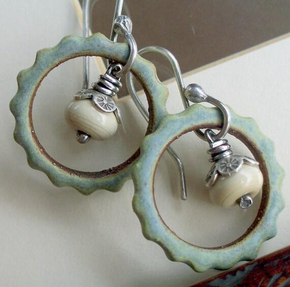 Silver Earrings Sage Ceramic Gear Link Hoop Sandstone Lampwork Dangle Sterling