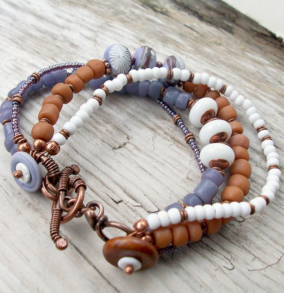 Bracelet Periwinkle Pumpkin and Violet with Copper and Clay Art Beads Multi Strand
