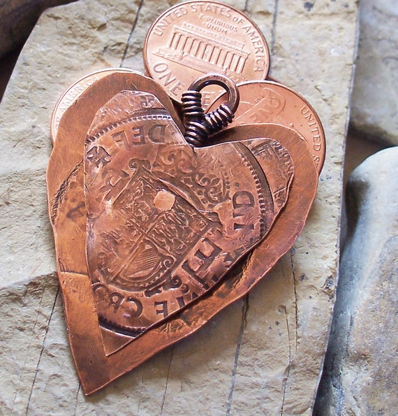 Copper Heart Pendant Focal Double Sided British Textured Antiqued and Riveted