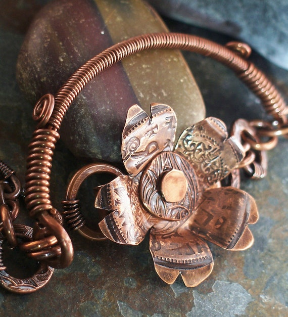 Copper Flower Bangle Bracelet Antiqued Metalwork with British Coin Texture and Toggle Clasp