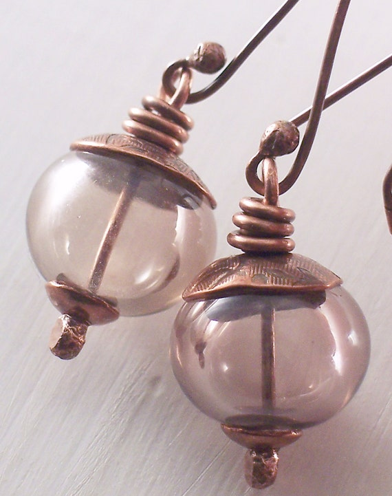 Plum Taupe Hollow Artisan Lampwork Glass Earrings on Copper Earwires