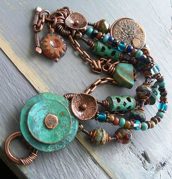 Old Verdigris Coin Bracelet in Turquoise and Southwest Colors with British Copper Coin Charm