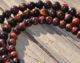 1 Strand Red Tigereye 4mm Round Beads BD864