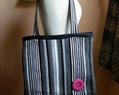 Black and Grey Rag Rug Tote Bag