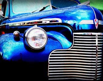 1940 Blue Chevrolet Deluxe Coupe - Classic Car - Pop Art - Fine Art Photograph