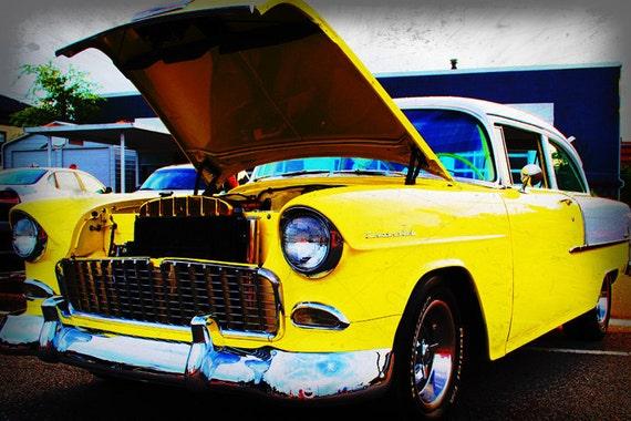 1955 Yellow Chevrolet Belair  - Classic Car - Garage Art - Pop Art - Fine Art Photograph